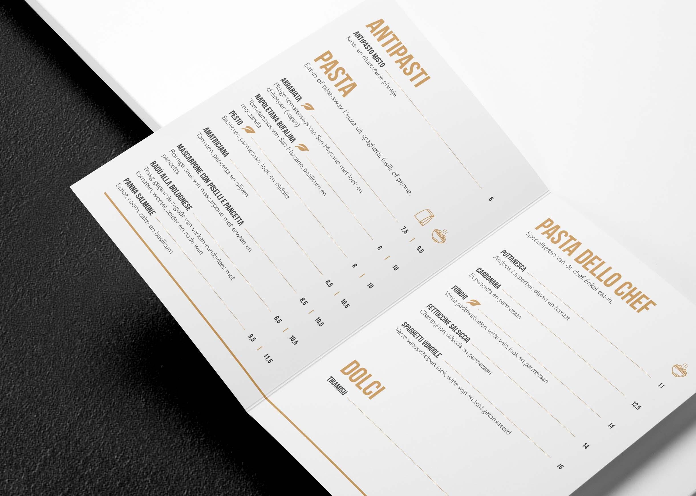 design ontwerp menukaart Pasta Ruffo